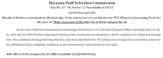 HSSC Constable Male Exam Result Declared - Check it Now