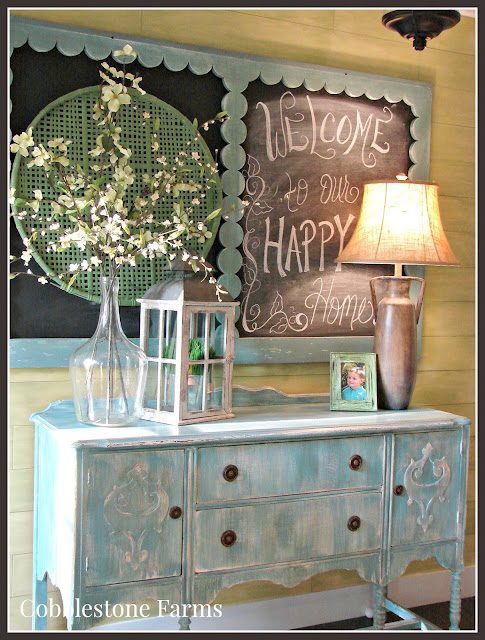 farm, farmhouse, farmhouse entry, buffet, chalkboard, lantern, flowers, Cobblestone Farms, home tour