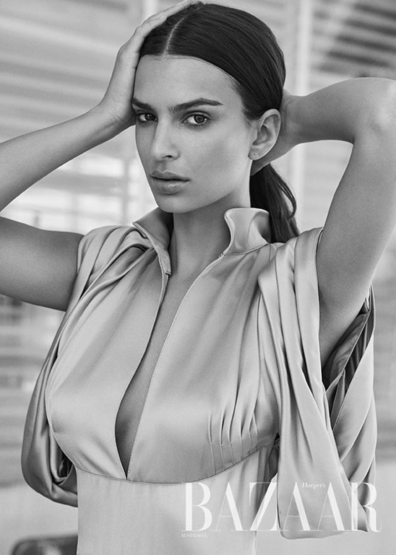 Emily Ratajkowski wears a Prada dress