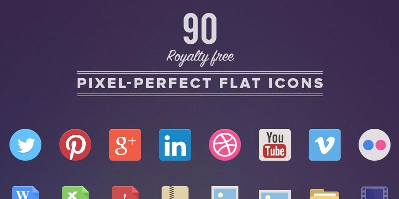 90 Free Flat Icon Pack