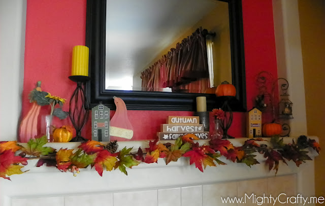 Fall Mantel - www.MightyCrafty.me