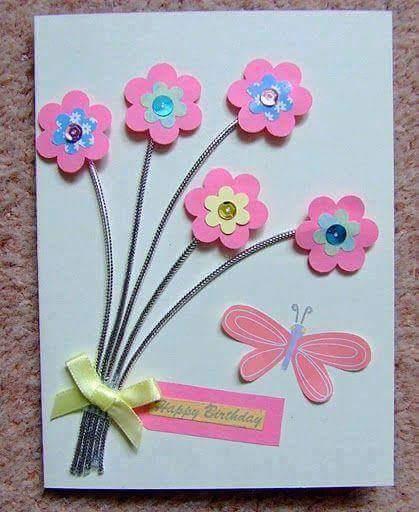 ms y ms manualidades Crea hermosas tarjetas con flores de papel