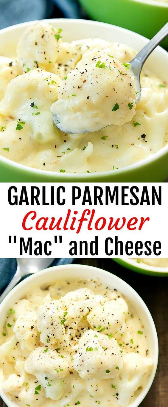 "GARLIC PARMESAN CAULIFLOWER ""MAC"" AND CHEESE"