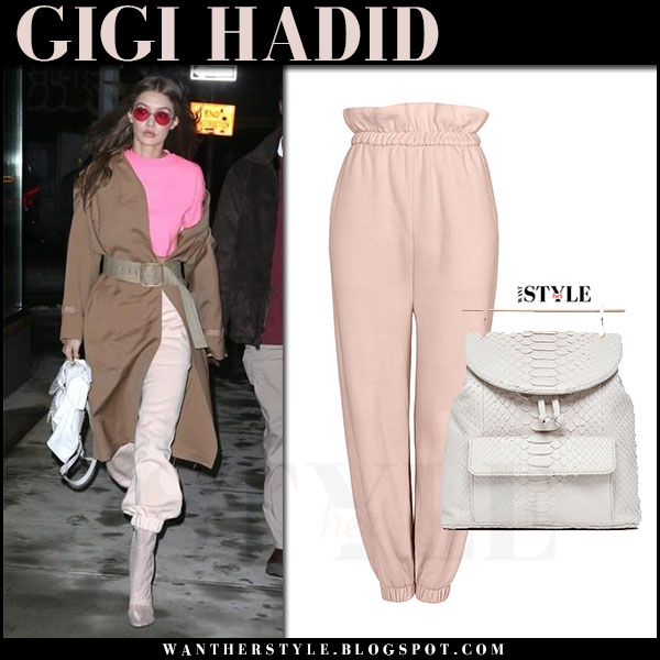 Gigi Hadid in brown coat, pink t-shirt and pink sweatpants nyfw streetstyle 2017