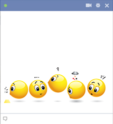 Emoticons standing in line