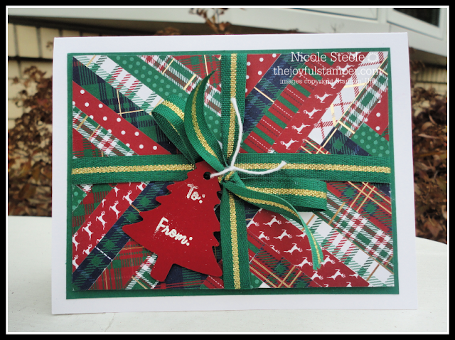 present card using Stampin' Up!'s Wrapped In Plaid suite and herringbone technique