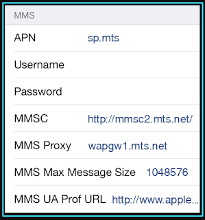 New MTS mms settings for iPhone
