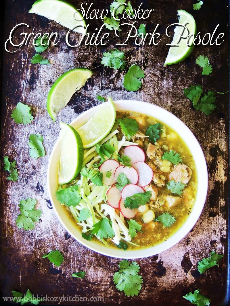 Slow Cooker Green Chile Pork Posole is made with fresh roasted poblano and Anaheim chiles from www.bobbiskozykitchen.com
