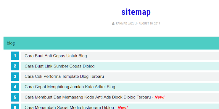 Cara Buat Sitemap Responsive Dan Otomatis Diblog Terbaru