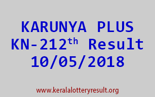 KARUNYA PLUS Lottery KN 212 Result 10-05-2018