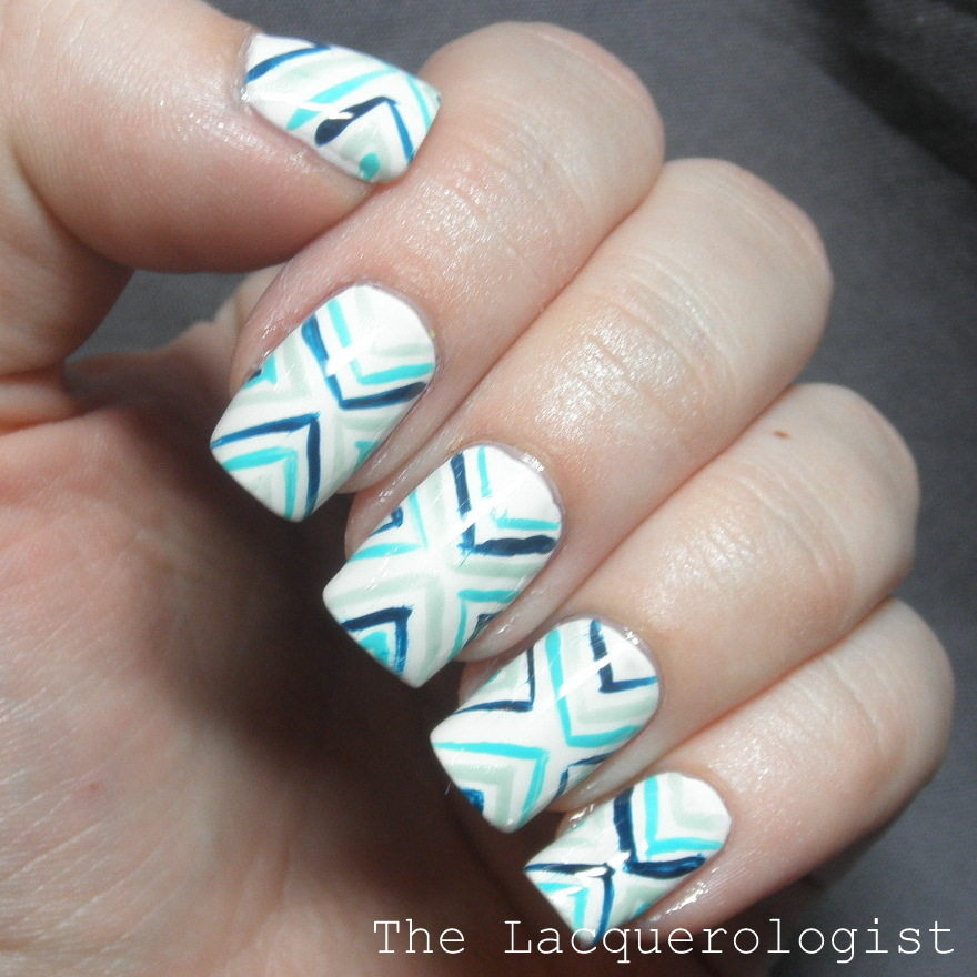 Funky blue v stripes nail art with china glaze essie and opi i started with a base of two coats of wet n wild wild shine french white in warm weather i adore stark white nails so clean and bright prinsesfo Choice Image