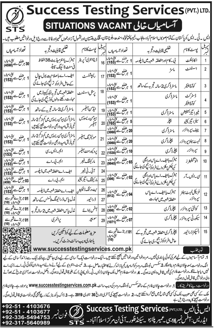 #Jobs - #Career_Opportunities in Success Testing Services Ltd. from all provinces including Azad Kashmir and Gilgit   – Last date is 30 January 2019