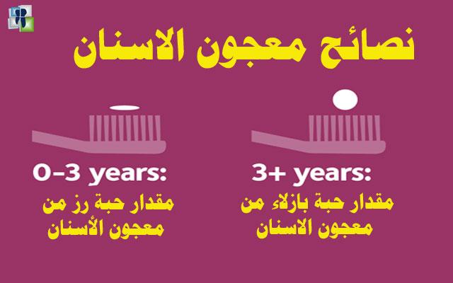 كمية معجون الاسنان المستخدمة