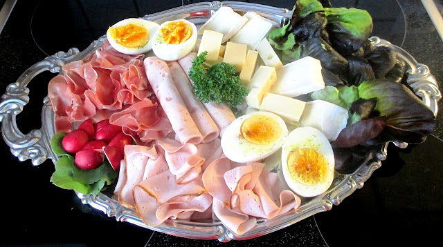 Platter Filled with Assorted Luncheon Meats, Hard Boiled Eggs