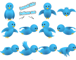 Twitter flying bird for blogger