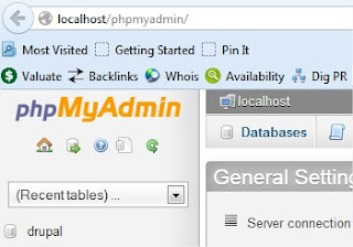 Open phpMyAdmin Webpage