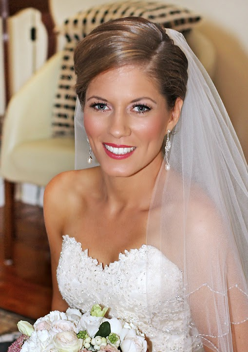 Beautiful Bride, flawless skin & pink lipstick. Makeup by Katie Dawson from Perle Jewellery & Makeup