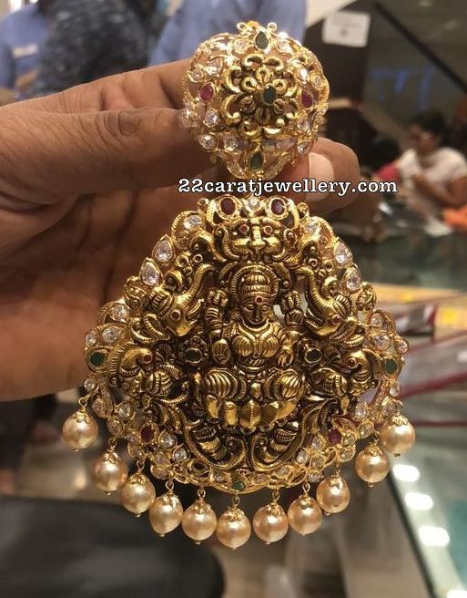 Two Step Lakshmi Floral Nakshi Pendant