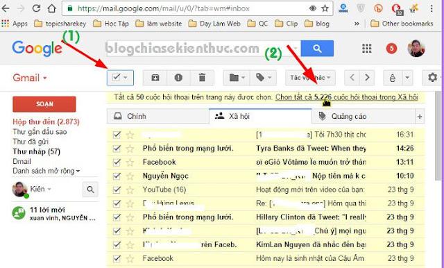 Hướng dẫn xóa hàng ngàn thư trong email (Gmail, Yahoo..) cùng 1 lúc