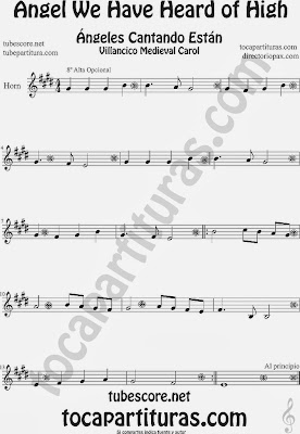 Partitura de para Trompa y Corno en Mi bemol Canción de Navidad Carol Song for Christmas Sheet Music for French Horn Music Scores