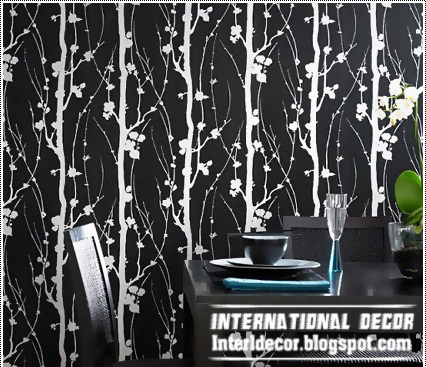black and white wallpaper ideas for living room decor with grey couches home modern design interior