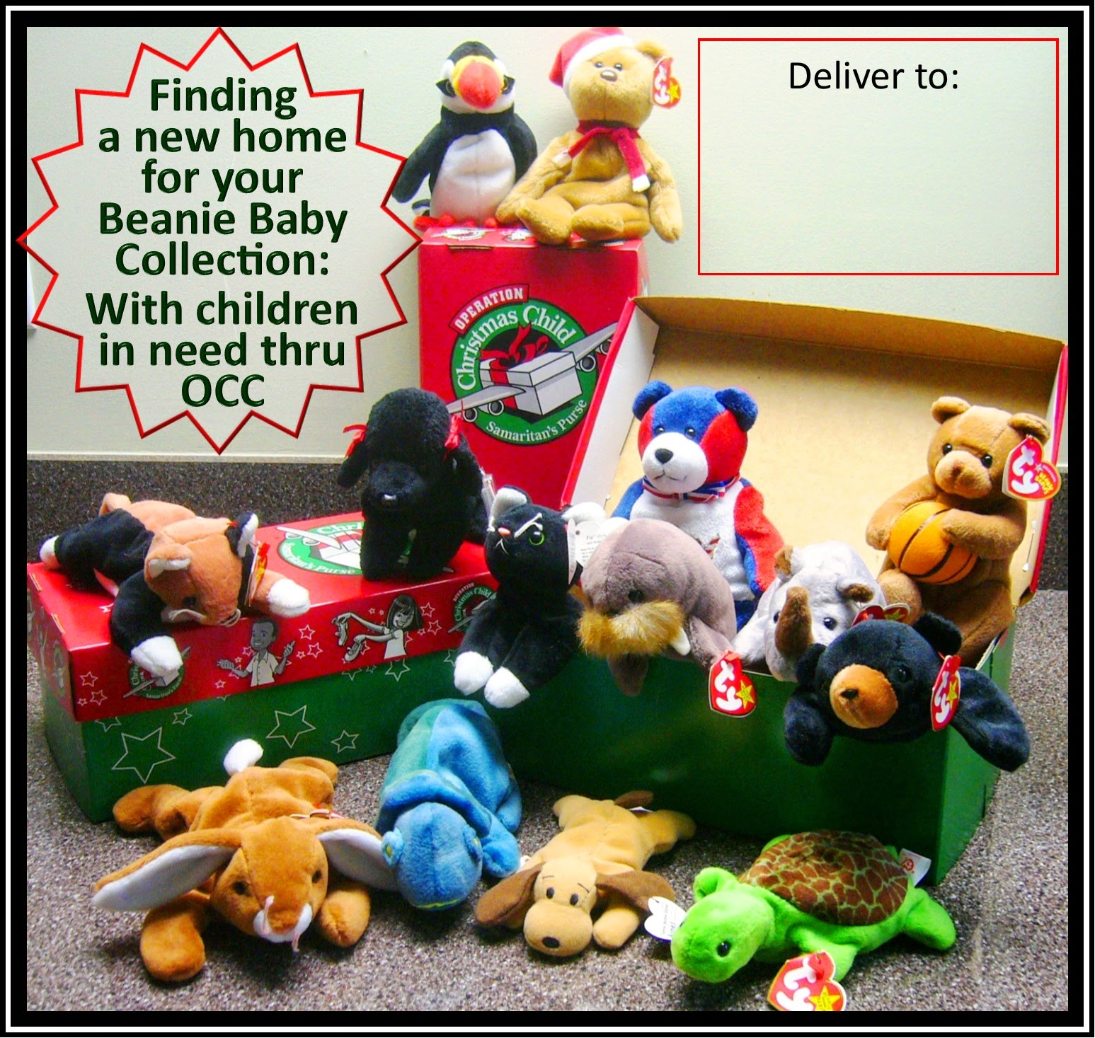 Wanted:  Bean Babies for Operation Christmas Child shoeboxes collection poster.