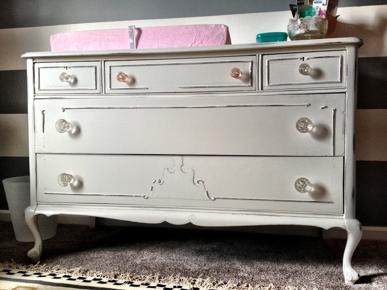 Midwest Cottage  Finds Vintage Dresser to Baby Nursery Changing Table