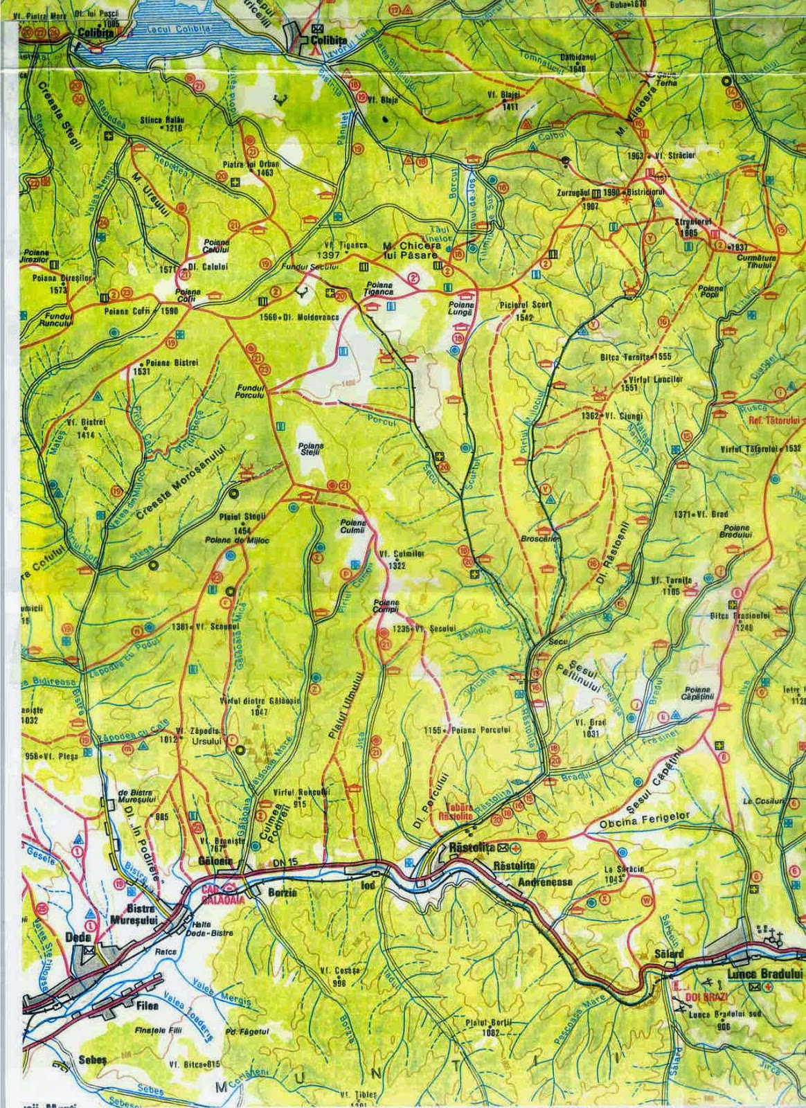 Harta Trasee Montane Harti Turistice Trasee Montane Romania