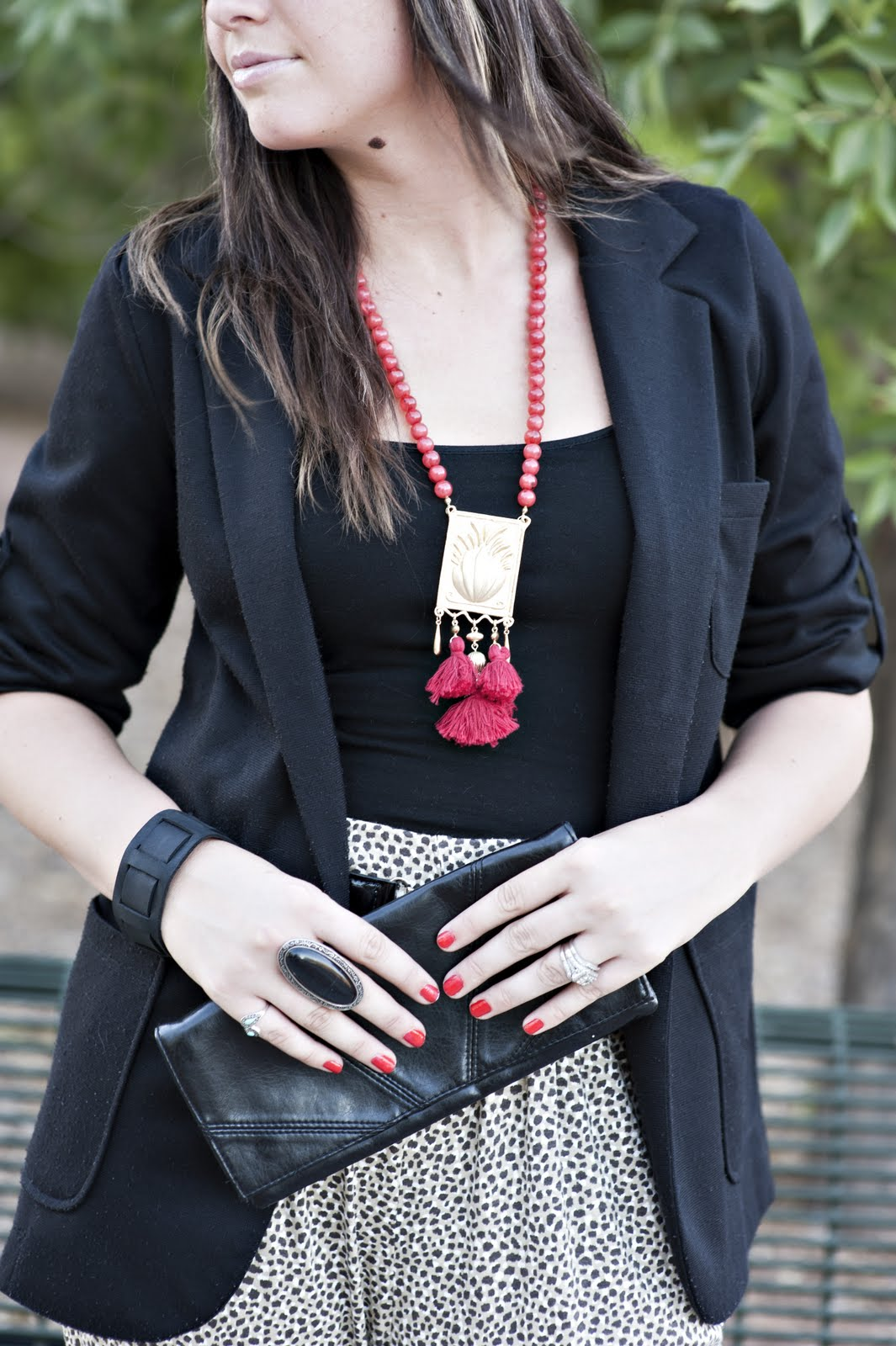 Red Necklace, Black handbag