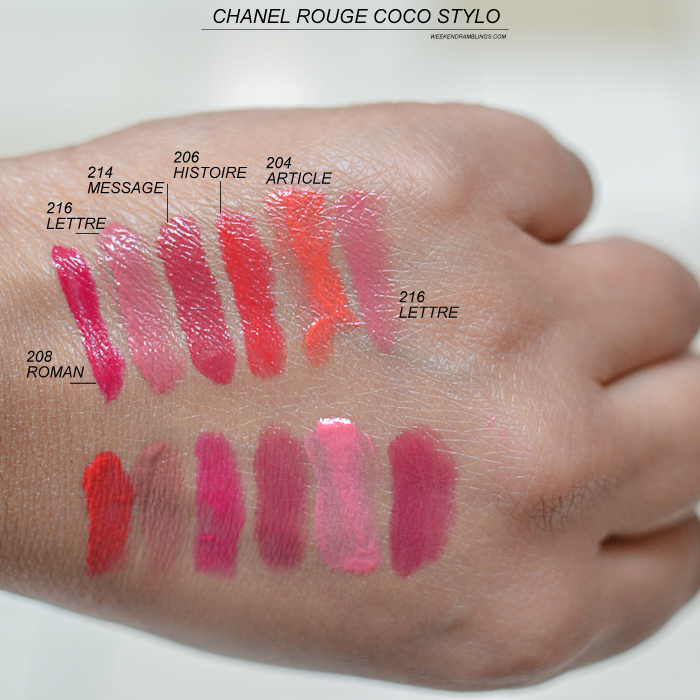 Chanel Rouge Coco Stylo - Swatches - 208 Roman 216 Lettre 214 Message 206 Histoire 204 Article
