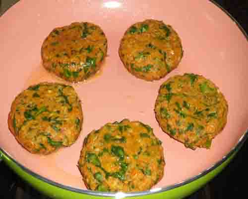 put flattened mixture on hot pan