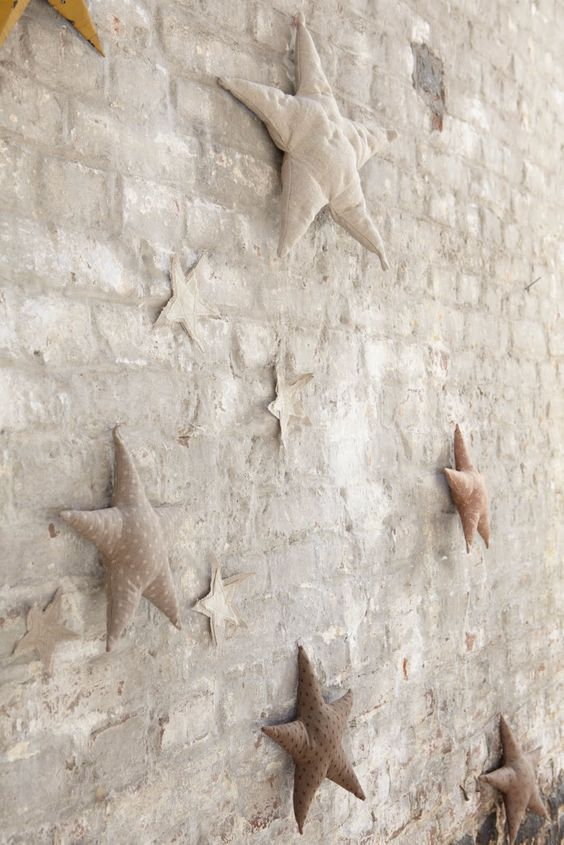 Christmas decorations stuffed stars fabric