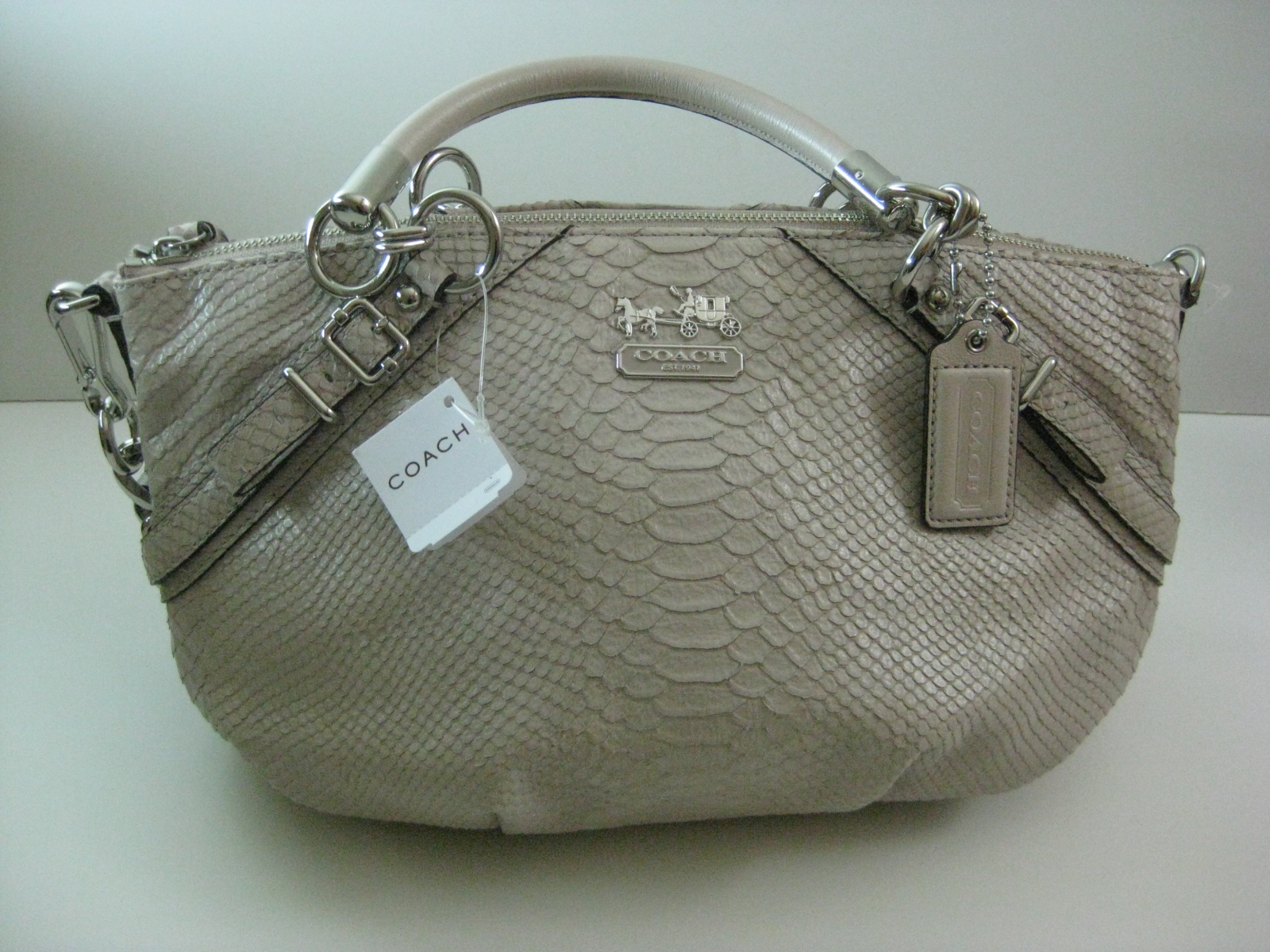 b61444bc80 FashionQueen  COACH Madison Eembossed Python Sophia Satchel