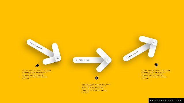 3 Step Clean Arrow Infographics for PowerPoint Templates in Yellow Background