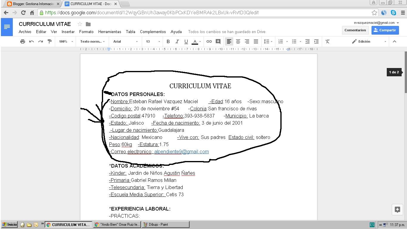 Hermosa Copiar Pegar Curriculum Vitae En El Correo Patrón - Ejemplo ...