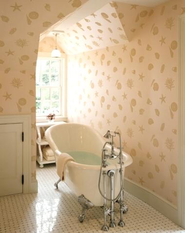 bathroom with sea life wallpaper