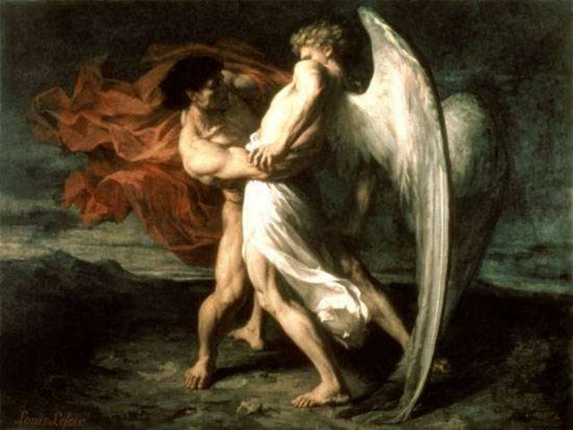 Jacob Wrestling With the Angel by Alexandre-Louis Leloir (1865)
