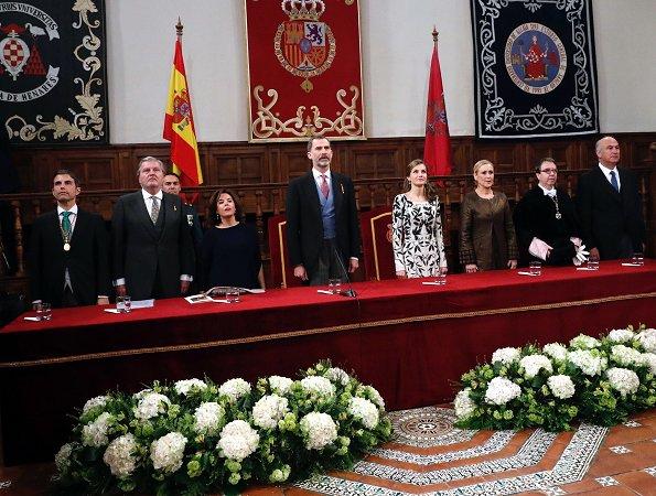 Queen Letizia wore Felipe Varela dress, Magrit pumps and carried Felipe Varela clutch bag for 2016 Cervantes Literary Award Ceremony. King Felipe
