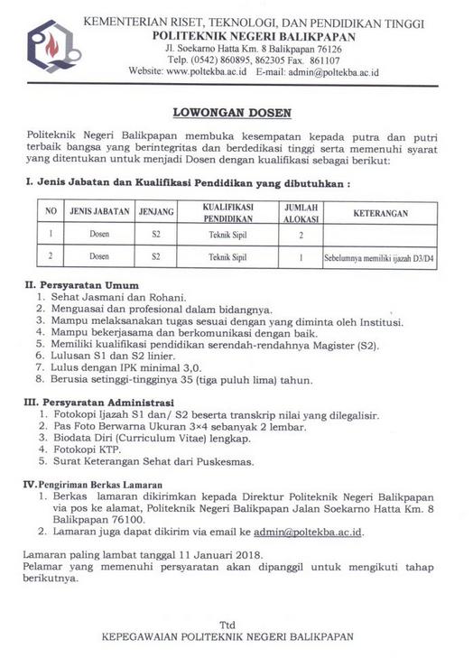 Lowongan Dosen Teknik Sipil Politeknik Negeri Balikpapan (Poltekba)