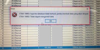 efaktur error ETAX-10003 : Input ke database tidak berhasil, periksa kembali data yang akan diinput dan ETAX-10002 : Tidak dapat mengambil data