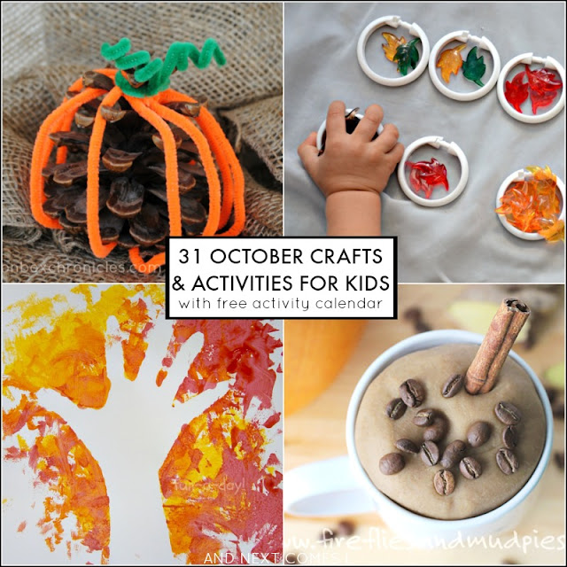 31 crafts and activities to keep kids busy for the month of October! Includes a free downloadable activity calendar from And Next Comes L