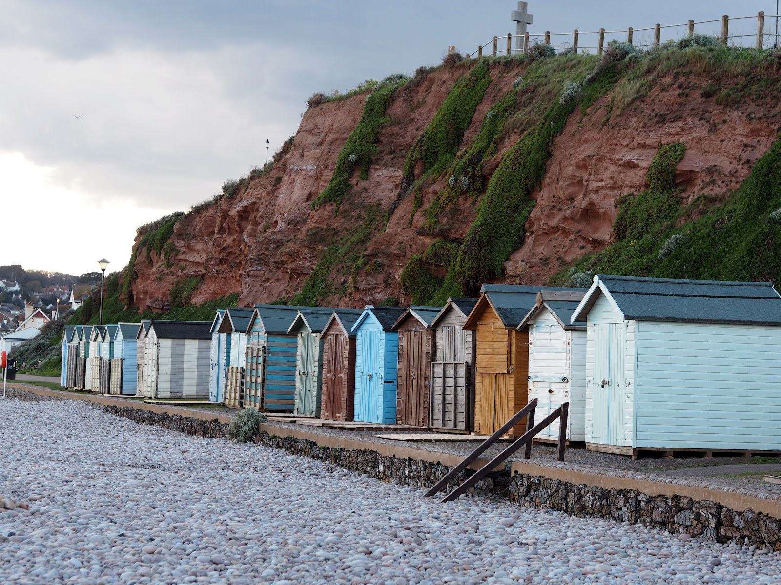 Beach huts on Budleigh Beach, Devon