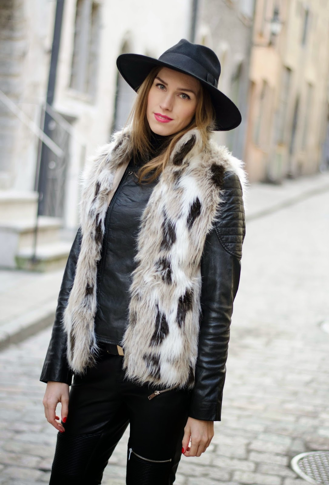 kristjaana mere catarzi fedora barneys leather jacket zara fur vest