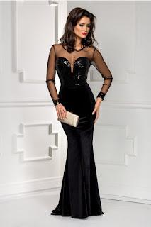 rochie lunga neagra de seara  din catifea cu paiete negre  trena si maneci din tull