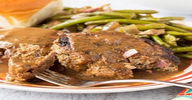 Onion Burger Steak With Brown Gravy Recipe