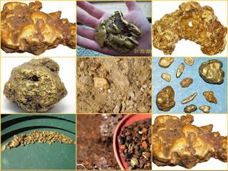 exemplos de pepitas de ouro nativas