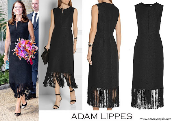 Crown Princess Mary wore Adam Lippes Fringed Linen And Cotten blend Tweed Dress