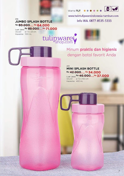 Promo Diskon Tulipware Oktober 2018, Jumbo Splash Bottle, Mini Splash Bottle