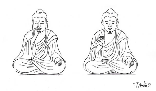 Funny Buddha picking his nose cartoon picture