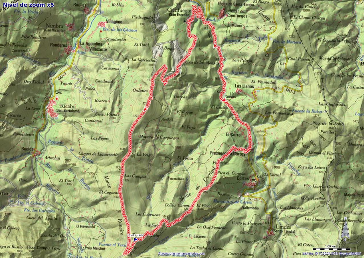 Mapa de la ruta entre Cienfuegos y Cueto La Siete
